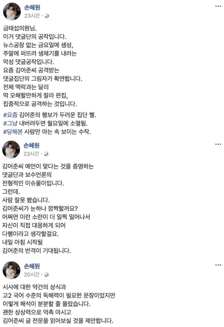 더불어민주당 손혜원 의원 페이스북 글 전문 / 손혜원 의원 페이스북