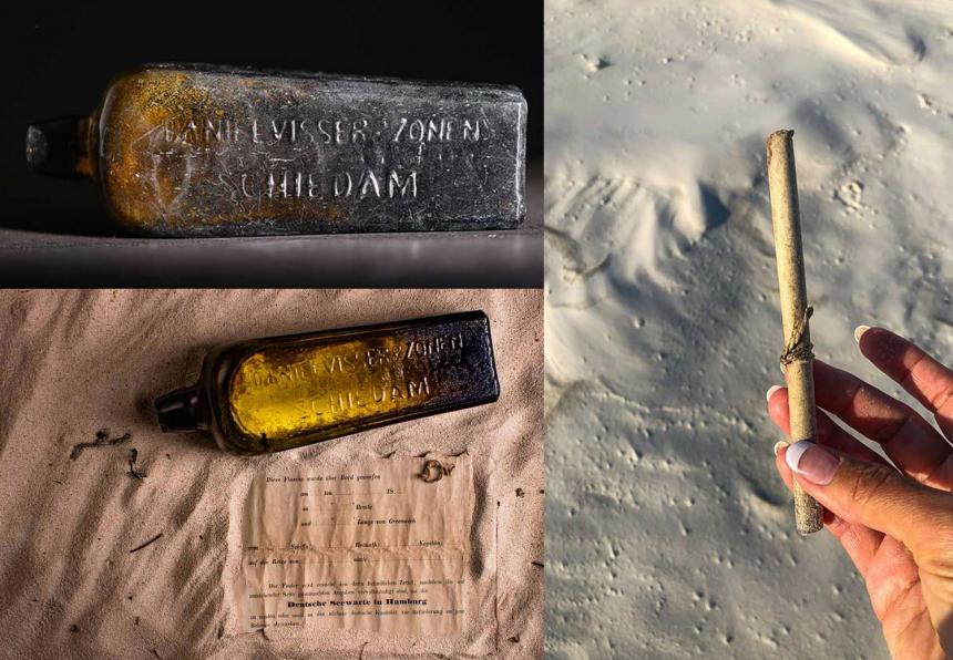 """세계에서 가장 오래 된 유리병 메시지가 호주의 한 해변에서 발견됐다. 1886년 6월12일 해류의 흐름을 파악하기 위해 독일의 한 선박에서 던진 병이다. 병 안의 종이에는 날짜와 선박의 좌표 및 경로에 대한 세부 사항이 적혔다. 서호주 웨지 아일랜드 해변에서 가족과 해변을 걷던 중 이 병을 발견한 토냐 일먼은 """"그냥 오래된 병처럼 보여서 책장에 두면 잘 어울릴 것 같아 가져왔다""""고 말했다. / guinnessworldrecords.com"""