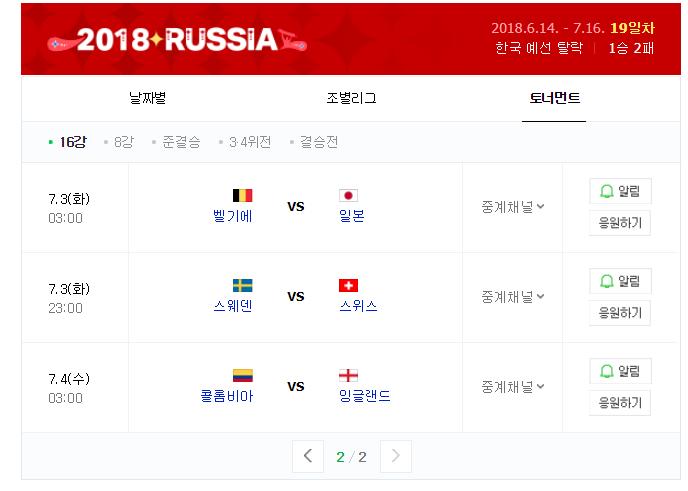 2018 러시아 월드컵 16강 대진표