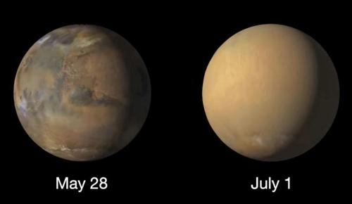 화성 전체 휘감은 모래폭풍 사진(오른쪽) 공개 [NASA]