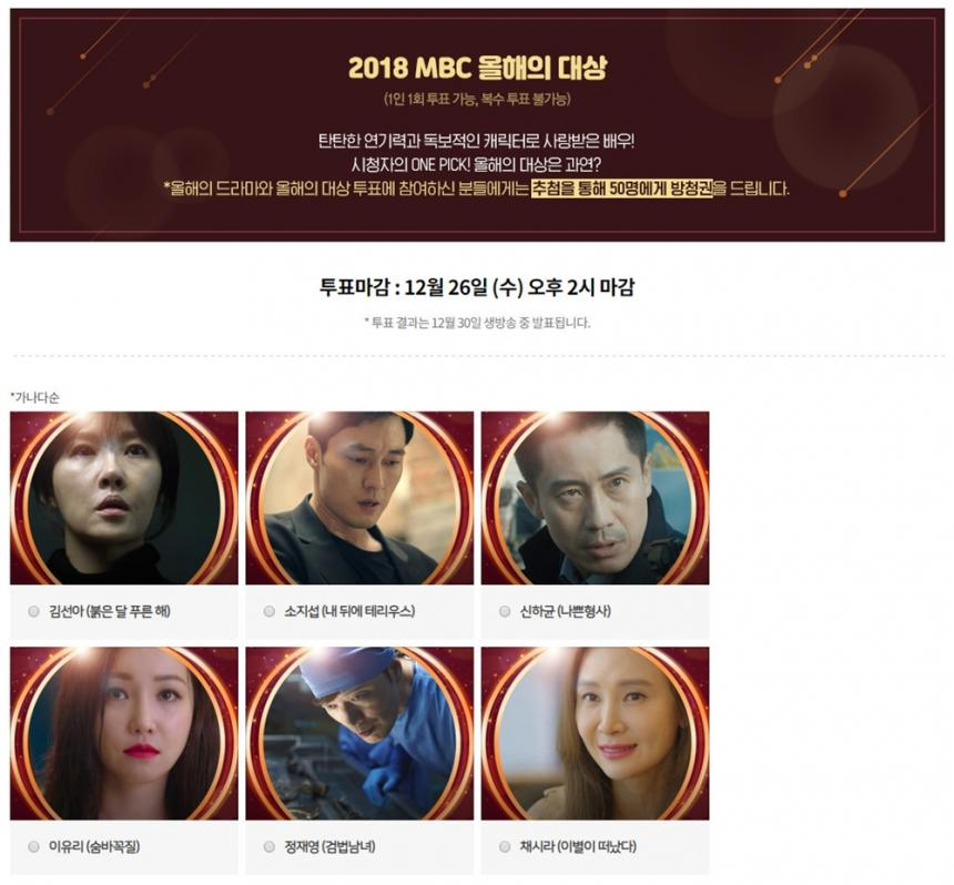 '2018 MBC 연기대상' 홈페이지