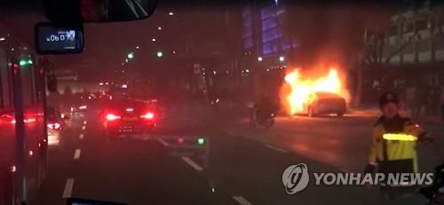 광화문 화재 택시 카풀반대 / 연합뉴스