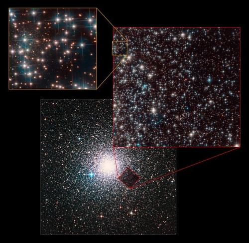 베딘1 은하(왼쪽 상단 박스)지상에서 관측한 구상성단 NGC 6752 전체 이미지(중앙 하단박스)와 허블우주망원경이 잡은 이미지(오른쪽 상단박스), 그리고 그 안에서 확인된 베딘1 은하. [ESA/허블, NASA 제공]