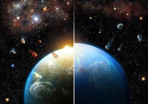 초신성에서 나온 방사성 원소 '알루미늄-26'의 존재가 가른 행성의 차이알루미늄-26가 있는 곳에서 형성된 행성(왼쪽)은 물이 상당부분 증발한 반면 그렇지 못한 곳에서 형성된 행성은 물의 세계를 이루는 것으로 나타났다. [로저 티바우트 제공]