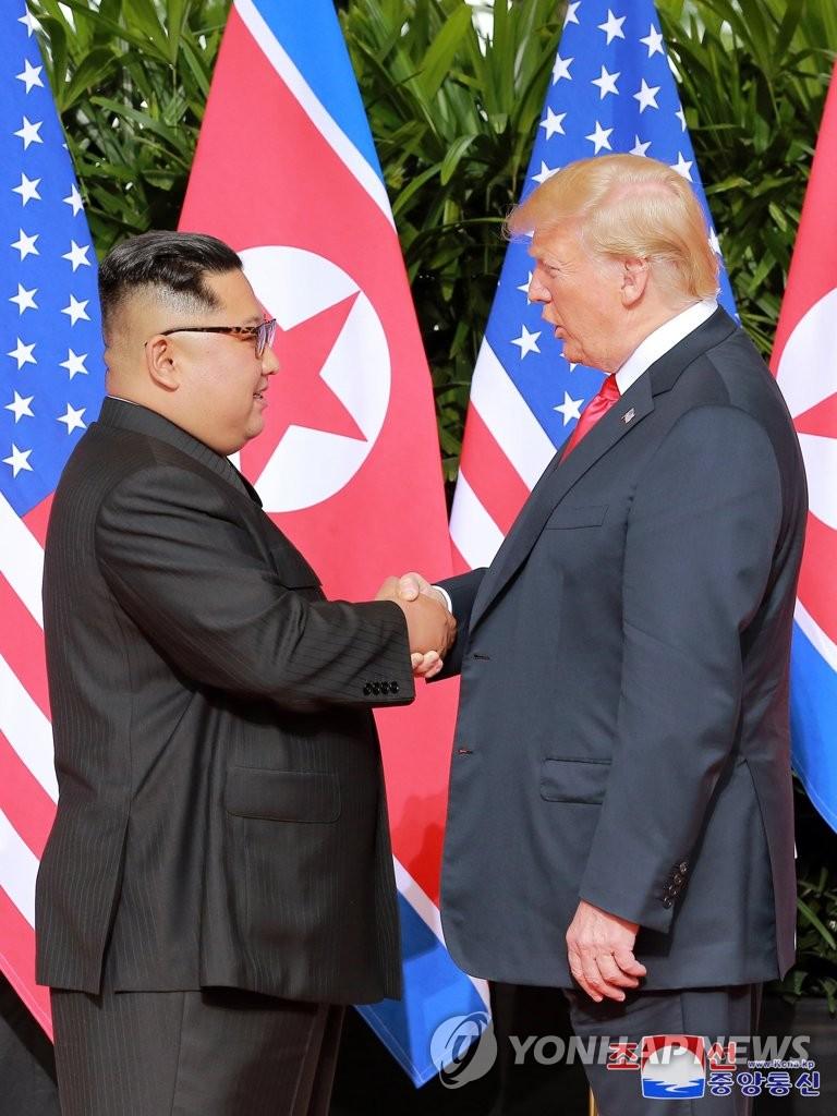 1차 북미회담의 김정은-트럼프 / 평양 조선중앙통신=연합뉴스