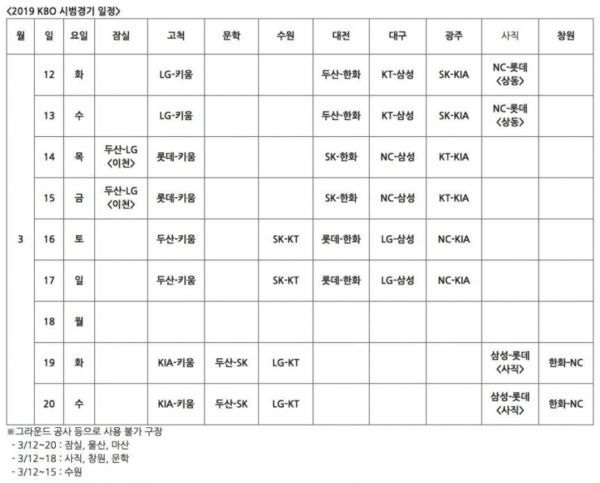 2019 프로야구 시범경기 일정 / KBO