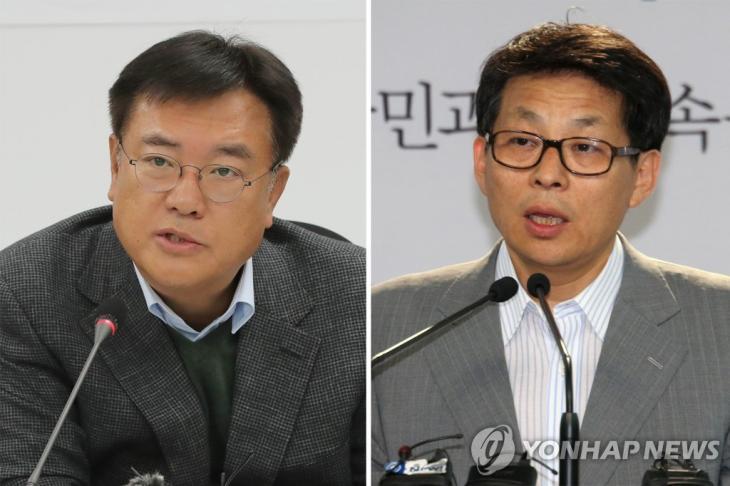 정진석 자유한국당 의원(왼쪽)·차명진 전 자유한국당 의원 / 연합뉴스
