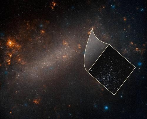 지상 망원경으로 관측된 대마젤란은하박스 안은 세페이드 변광성을 포함된 성단으로 허블 우주망원경으로 관측한 것이다. [NASA, ESA, A. Riess (STScI/JHU) and Palomar Digitized Sky Survey 제공]