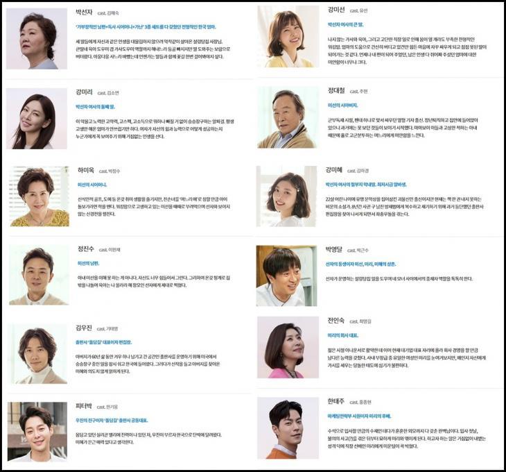 KBS2'세상에서 제일 예쁜 내 딸' 홈페이지 인물관계도 사진 캡처