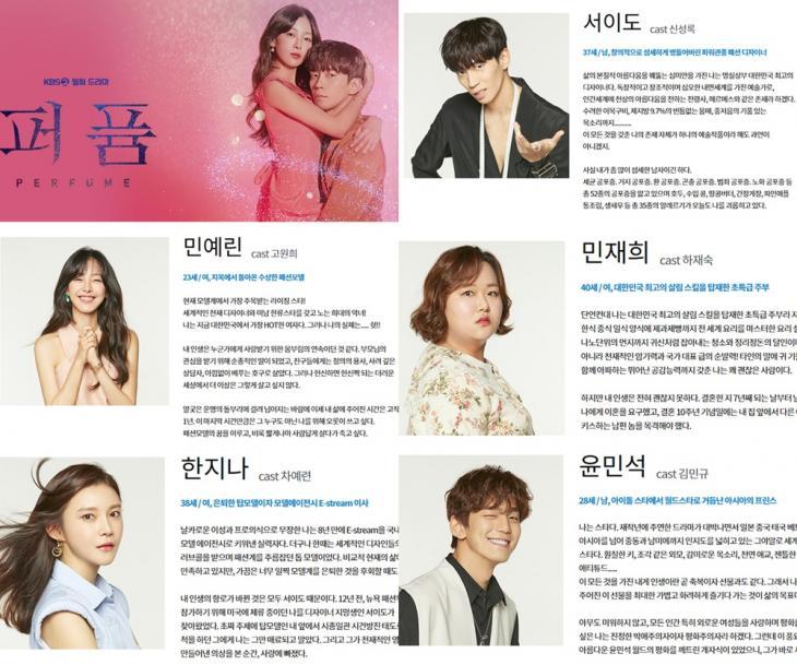 KBS2 '퍼퓸' 홈페이지 인물관계도 사진 캡처