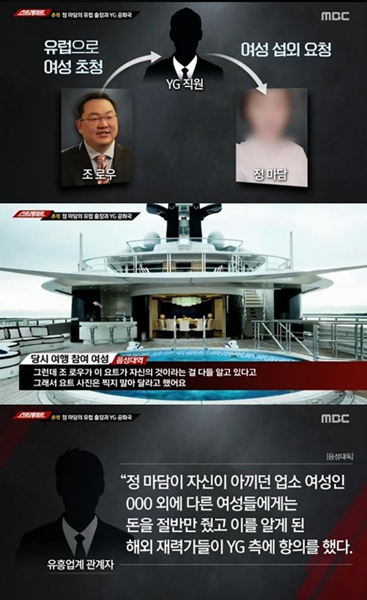 황하나-싸이-조로우-정마담-양현석 /MBC '스트레이트' 갈무리