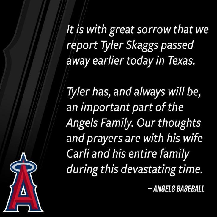투수 타일러 스캑스 사망 소식을 전한 LA 에인절스