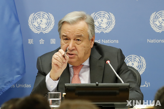 안토니우 구테흐스 유엔 사무총장은 남북미 정상들이 판문점에서 회동한 것을 환영한다고 밝혔다. / 뉴시스