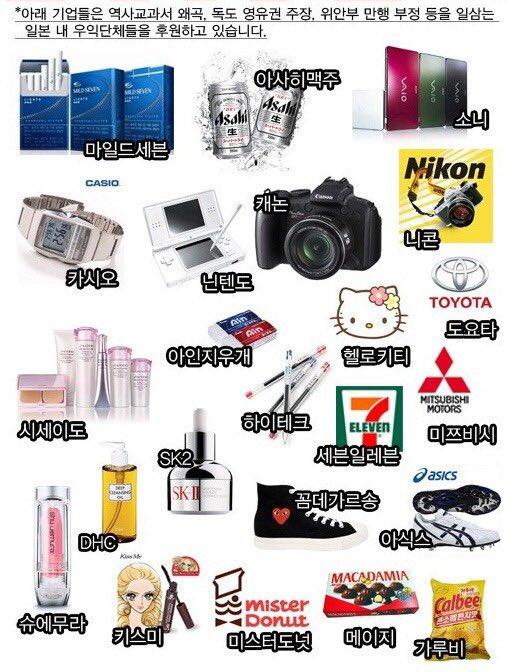 일본 제품 불매 목록 / 트위터