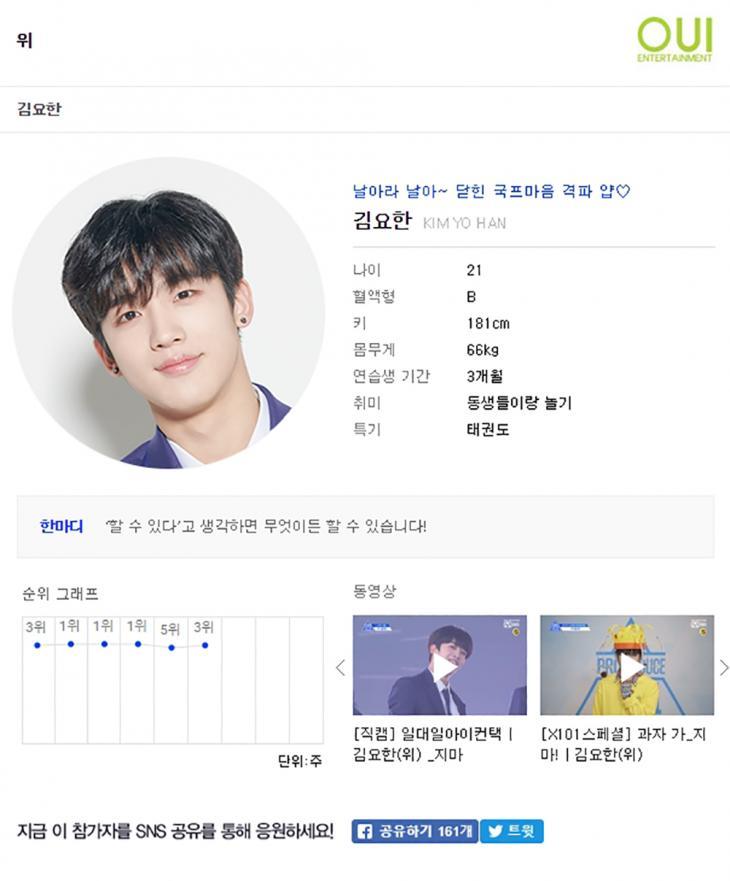 김요한 프로필 / 엠넷 '프로듀스X101' 방송캡처