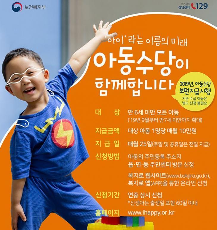 보건복지부 '아동수당' 포스터 캡처
