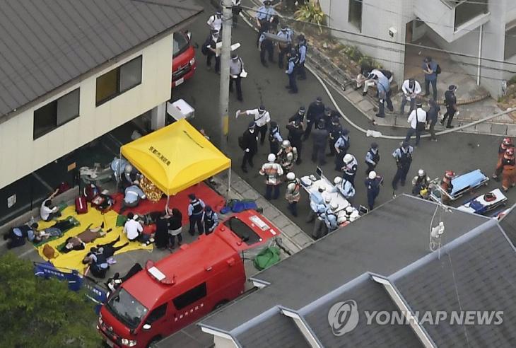 일본 '교토 애니메이션' 화재 부상자들 치료 / 연합뉴스