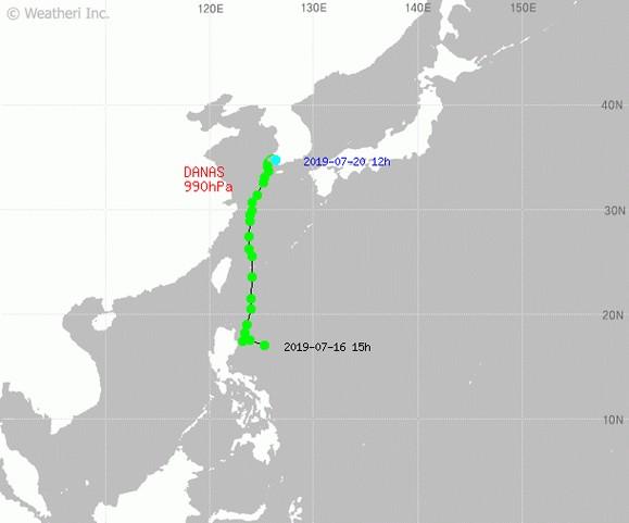 태풍 다나스의 현재 위치는 10시 기준 진도 서남쪽 70km 부근 해상 / 기상청