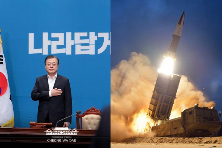 문재인 대통령 · 북한 미사일 발사체 도발 / 청와대 · 연합뉴스