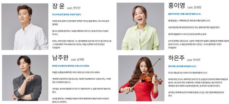 KBS2 '너의 노래를 들려줘' 홈페이지 인물관계도 사진캡처