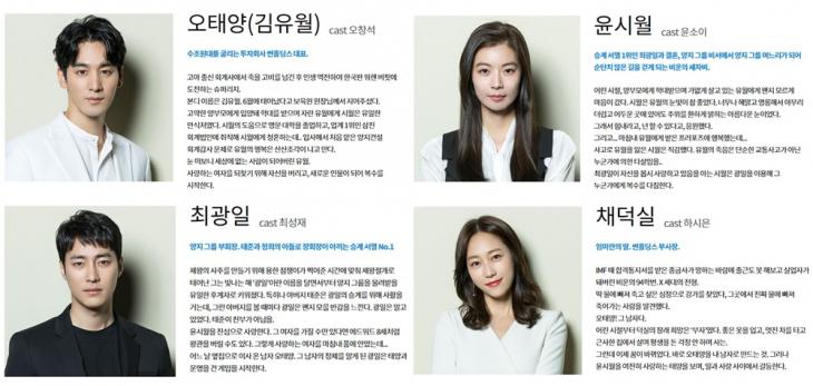 KBS2 '태양의 계절' 홈페이지 인물관계도 사진캡처
