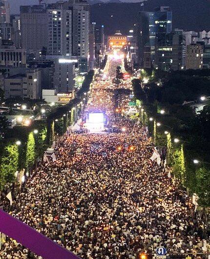 누에다리에서 바라본 검찰개혁 촛불집회 현장