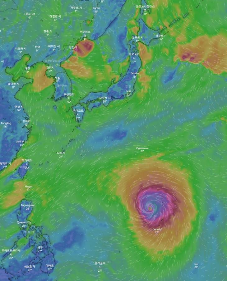 제19호 태풍 하기비스 현재 위치 / 유럽중기날씨예보센터(ECMWF), 윈디닷컴