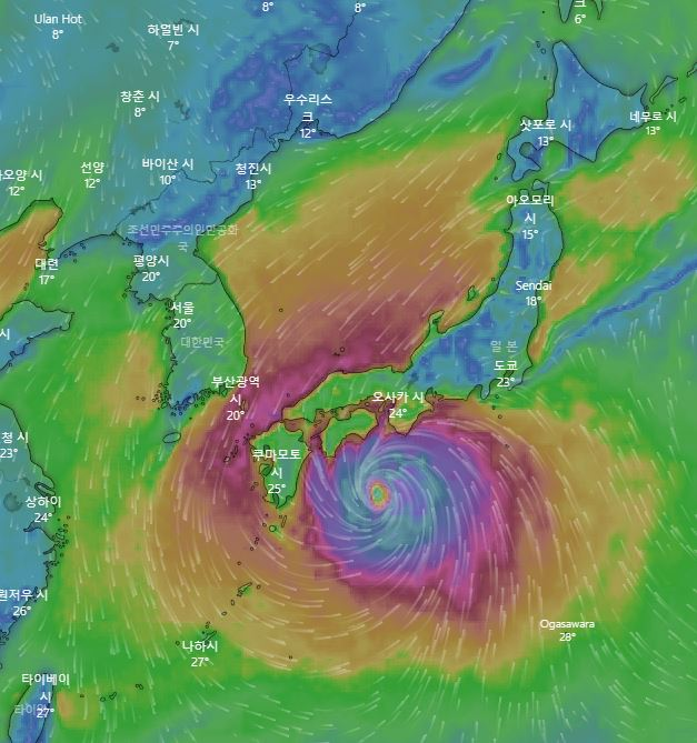12일 토요일 제19호 태풍 하기비스 예상 위치 / 유럽중기날씨예보센터(ECMWF), 윈디닷컴