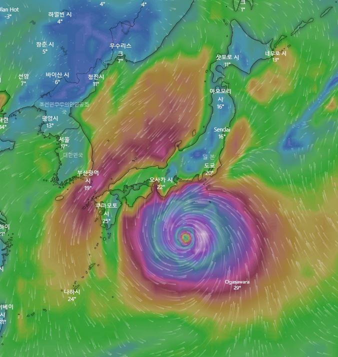 12일 토요일 제19호 태풍 하기비스 예상 위치 / 미국 글로벌예보시스템(GFS), 윈디닷컴