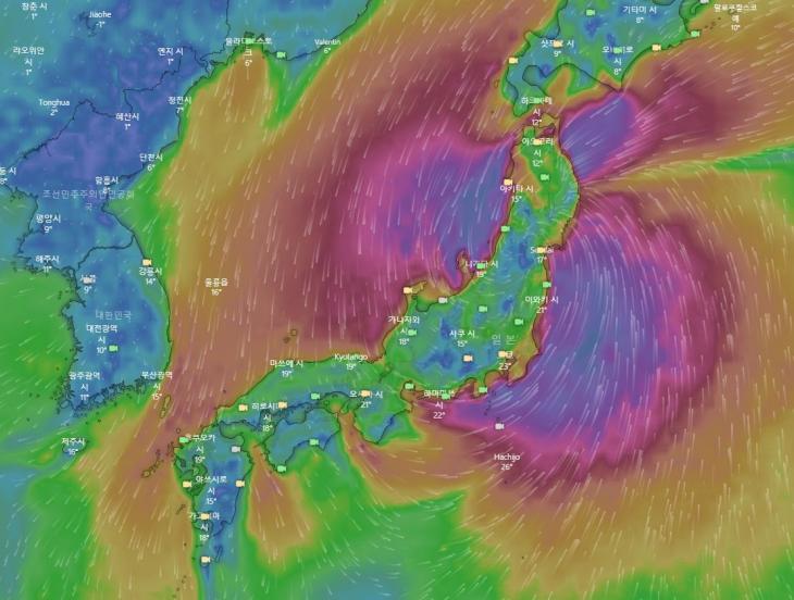 제19호 태풍 하기비스가 후쿠시마 원자력 발전소를 지난다 / 윈디닷컴
