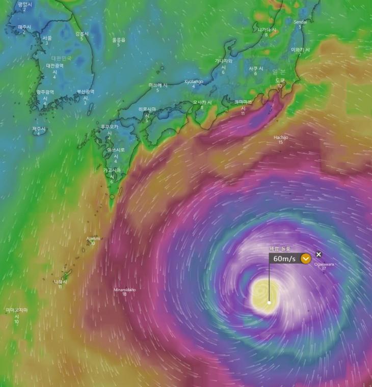 제19호 태풍 하기비스 현재 위치 / 유럽기상청의 ECMWF, 윈디닷컴