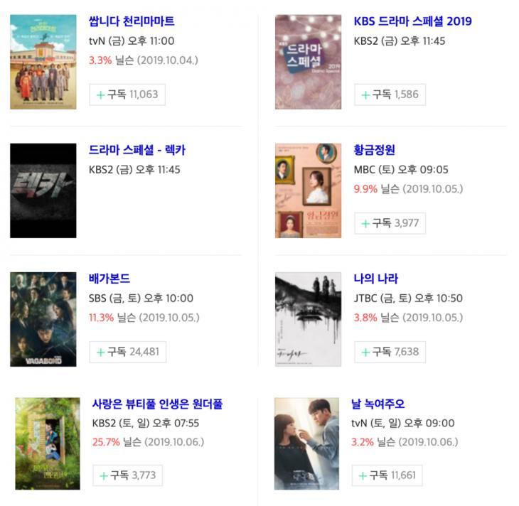 10월 11일-12일-13일 금토드라마-토일드라마