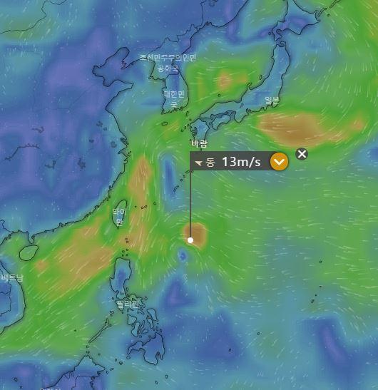 제20호 태풍 너구리 / 미국기상청의 GFS 예보시스템, 윈디닷컴