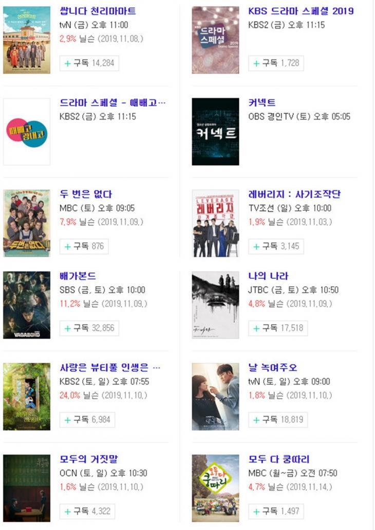 11월 15일-16일-17일 금토드라마-토일드라마