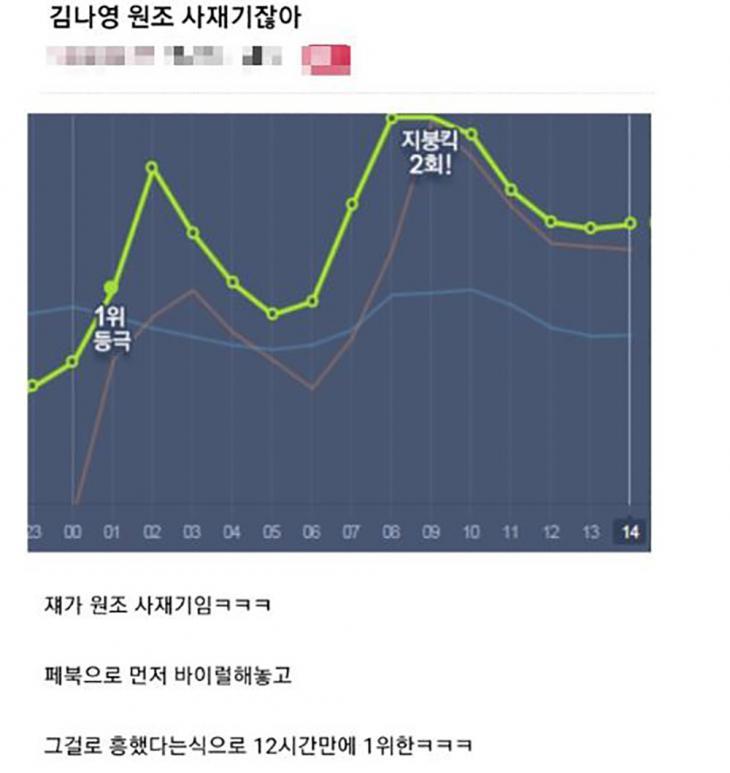 가수 김나영 사재기 의혹 / 온라인 커뮤니티