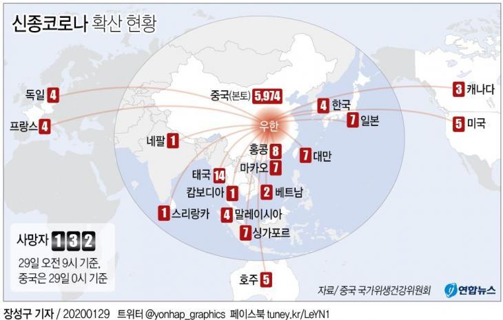 신종코로나 국가별 확진자 현황 / 연합뉴스