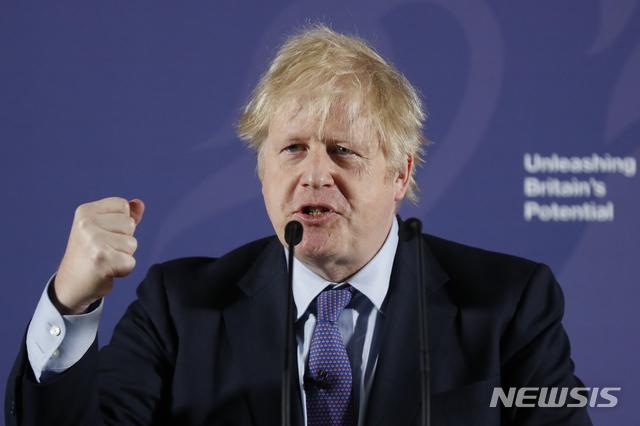 보리스 존슨 영국 총리가 3일(현지시간) 런던 그린위치의 옛 왕립해군대학에서 브렉시트 이후 유럽연합(EU)과의 무역 협상에서 영국 정부가 취할 입장에 대해 연설하고 있다. 2020.2.3. / 뉴시스