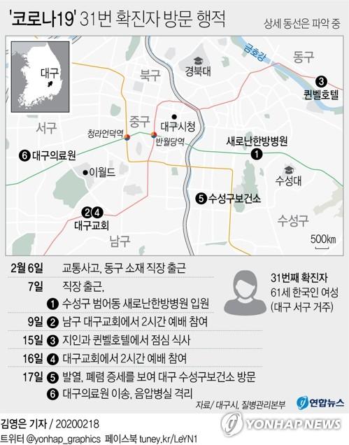 31번째 확진자 동선 / 연합뉴스 제공