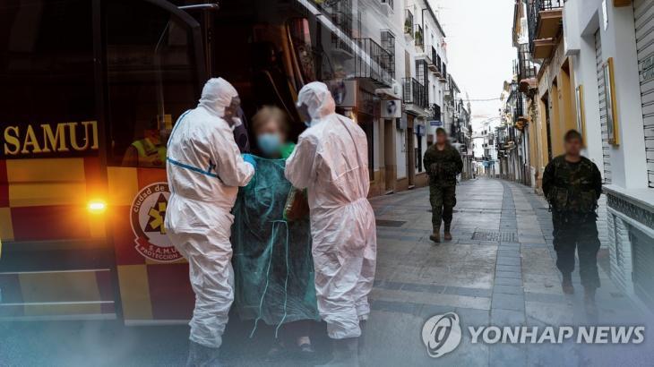 스페인, 코로나19 사망자 수 하루 새 800명 넘게 증가 / 연합뉴스