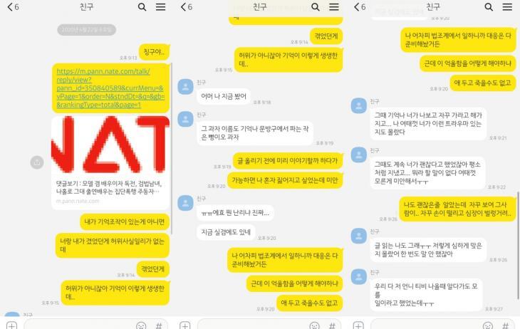피해주장 네티즌 공개 카톡 내용 / 온라인 커뮤니티