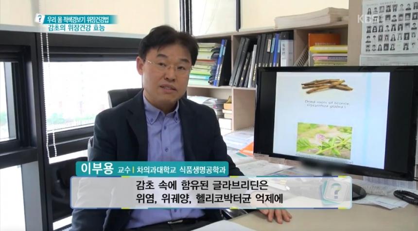 감초 효능 설명 장면 차의과대학 이부용 교수 (출처=KBS1 '무엇이든 물어보세요' 방송)