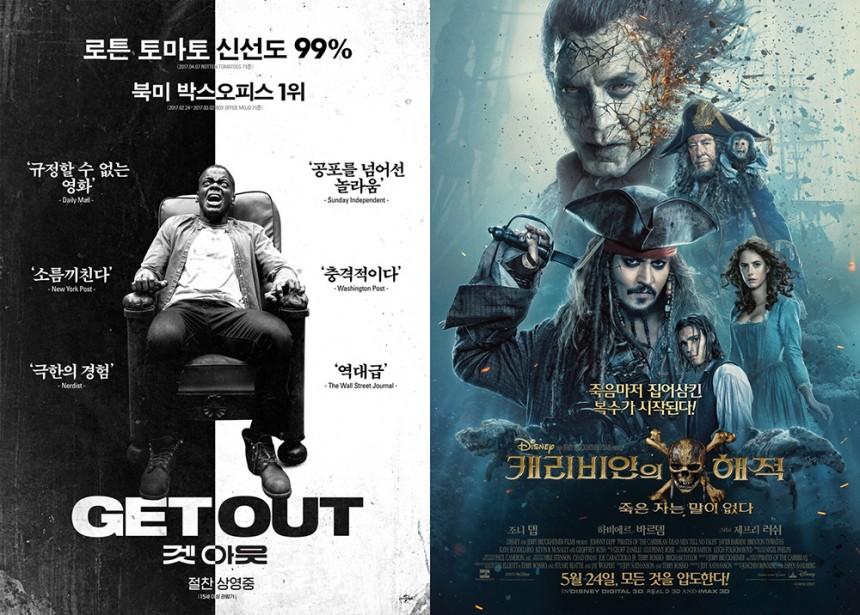 '겟아웃', '캐리비안의 해적: 죽은자는 말이없다'/UPI코리아, 월트 디즈니 컴퍼니 코리아