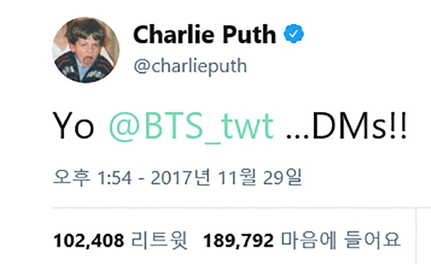 Charlie Puth(찰리 푸스) 트위터
